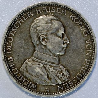 1914 - A Germany Prussia 5 Mark Silver Crown Coin Xf Wilhelm Ii Uniform (lv 652) photo