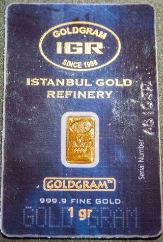 1 Gram Gold Istanbul Refinery Bar 999.  9 Igr Certified Assay $0 Ship W/track photo