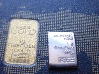 Gold Bar 1 Gram Karatbar Plus 1 Gram Silver Bar And Gold Nuggets photo