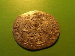 Lithuania Poland 1562 Silver 1/2 Grosz Sigismund Ii Augustus Silver Medieval Coi photo