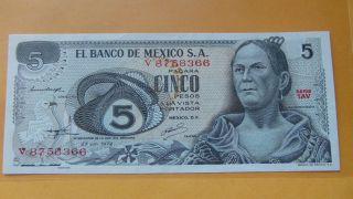 5 Five Pesos Banco De Mexico Banknote Unc photo