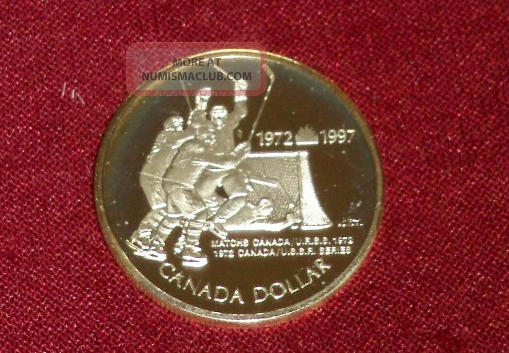 1997 Sterling Silver Dollar Lovely Golden Tone,  1972 Canada - Russia Hockey Game Coins: Canada photo
