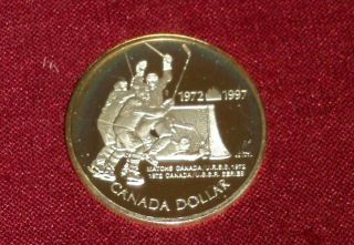 1997 Sterling Silver Dollar Lovely Golden Tone,  1972 Canada - Russia Hockey Game photo