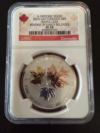 2016 $5 Canada Silver Maple Leaf Gilt Ngc Pf70 Reverse Proof Er Pink Gold 1 Oz photo