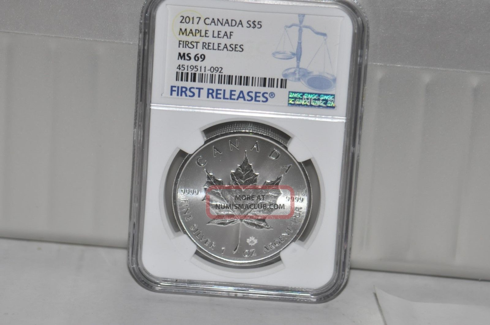 2017 $5 Canada 1oz Silver Ngc Ms69 Maple Leaf Fr Coins: Canada photo