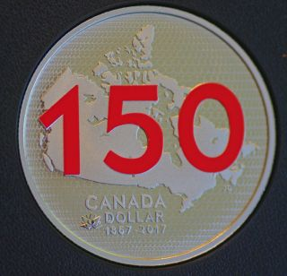 2017 Canada 150 Our Home & Native Land Red Lettering Silver Dollar 99.  99 Silver photo