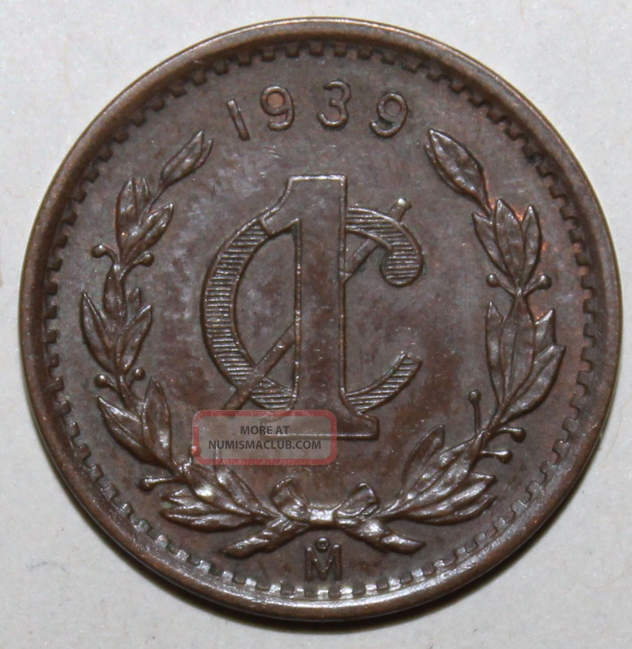 Mexican 1 Centavo Coin,  1939 - Km 415 - Mexico - One Mexico (1905-Now) photo