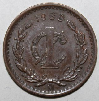 Mexican 1 Centavo Coin,  1939 - Km 415 - Mexico - One photo