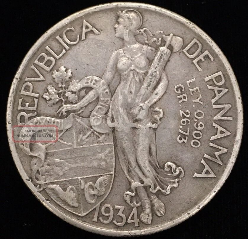 1934 Panama 1 Balboa Silver Coin Better Type Collectible Coin 6412m North & Central America photo