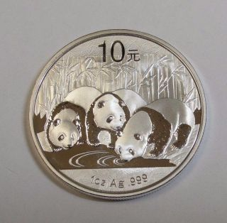 2013 10 Yuan Chinese Panda 1oz.  999 Fine Silver Choice Unc Coin photo