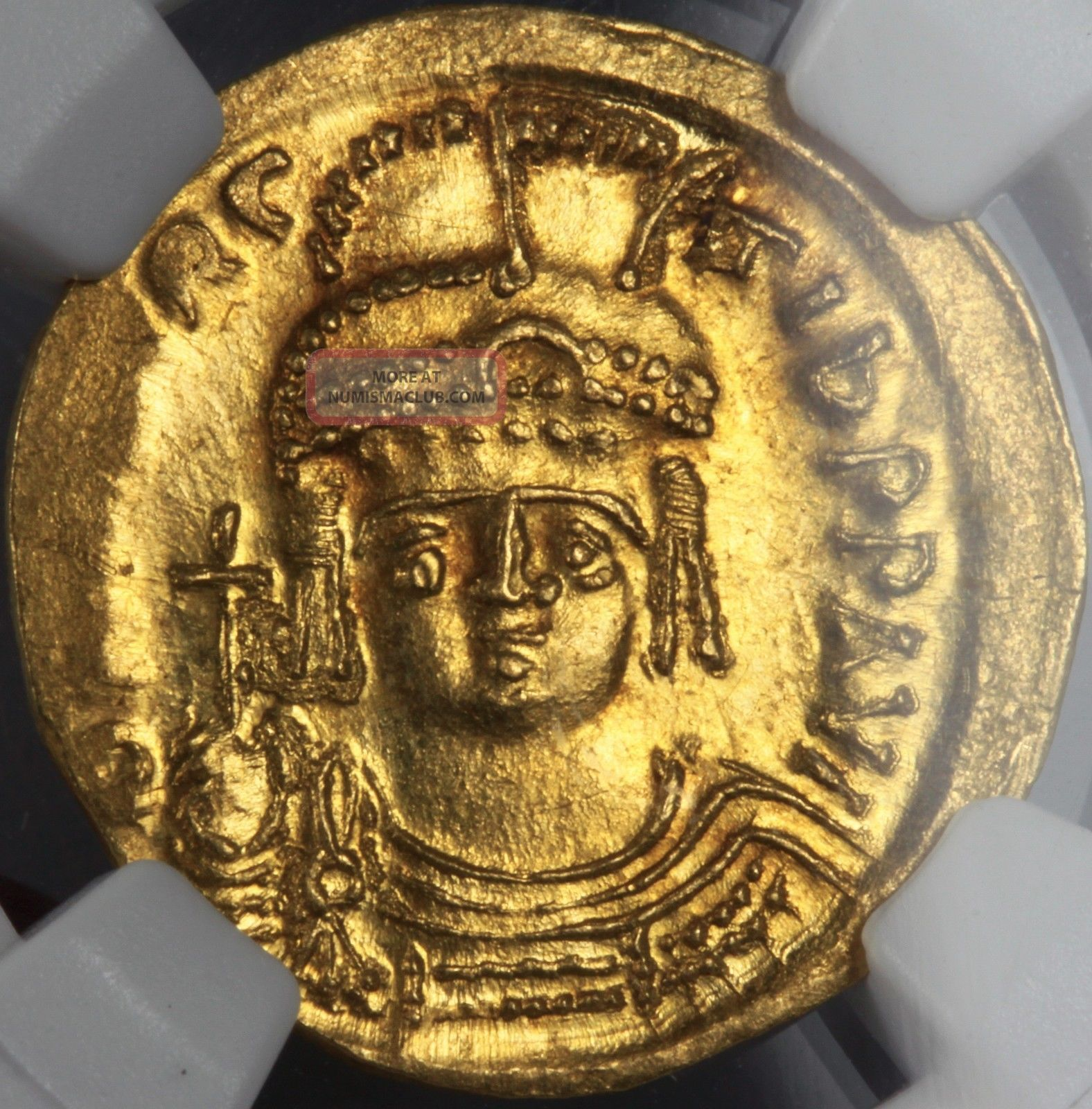 Gold Solidus Ad582 - 602 Maur.  Tiberius Ms Mintstate Uncirculated Ngc Luster Coins: World photo