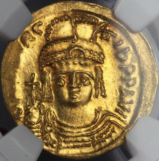 Gold Solidus Ad582 - 602 Maur.  Tiberius Ms Mintstate Uncirculated Ngc Luster photo