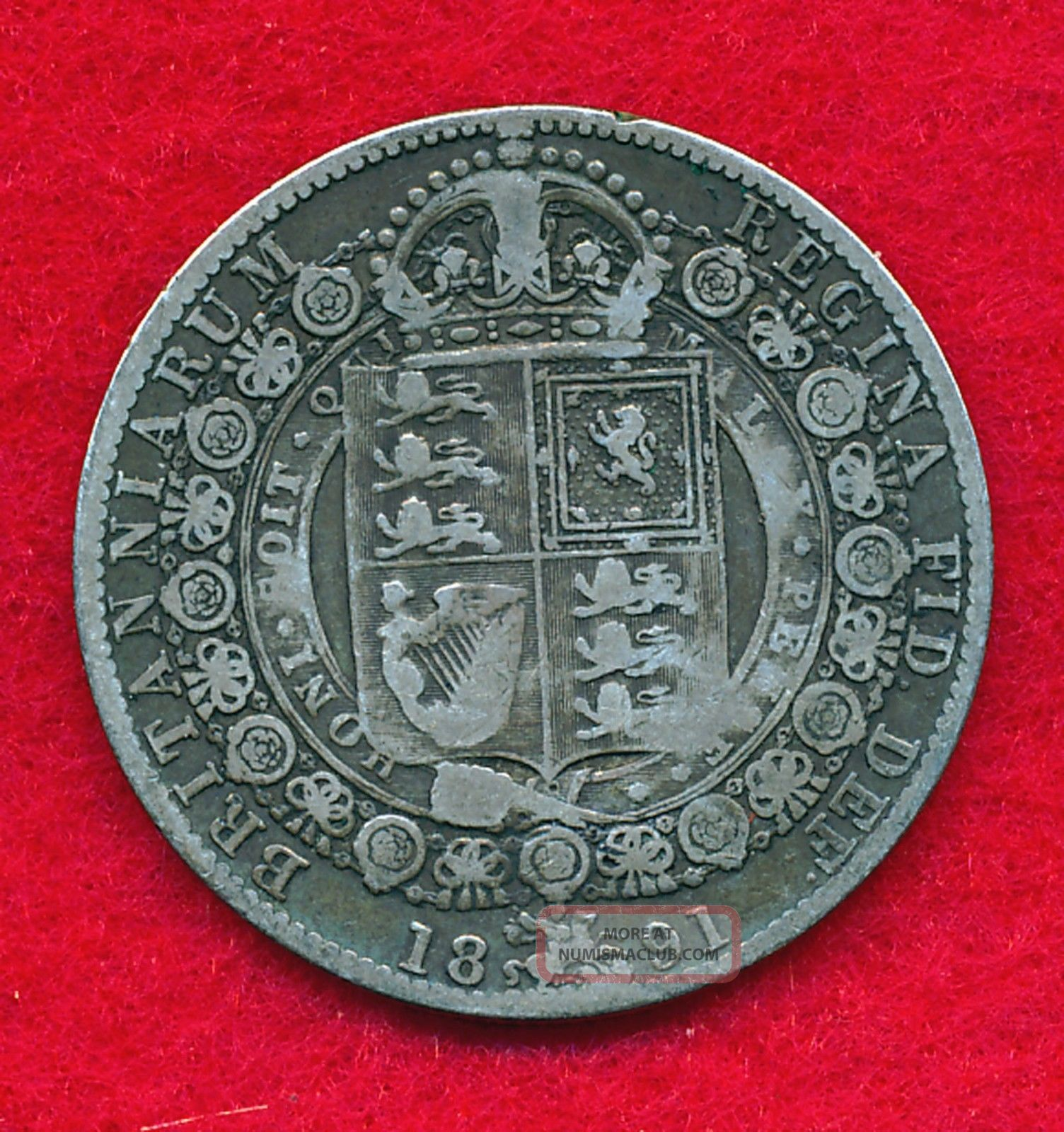 Great Britain 1891 1/2 Crown.  4204 Ounces Of Silver Half Crown photo