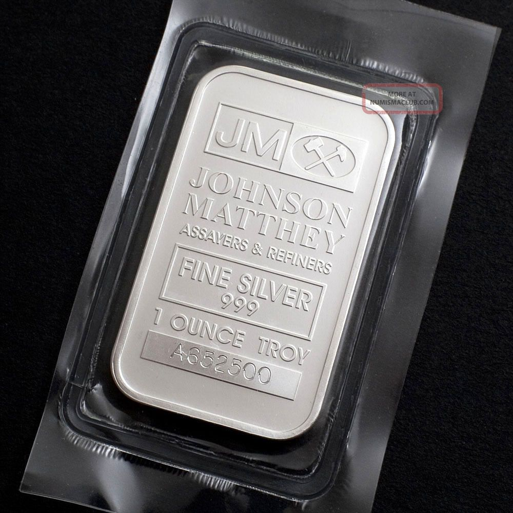 1 Troy Oz Johnson Matthey.  999 Fine Silver Bar 02 Bars & Rounds photo