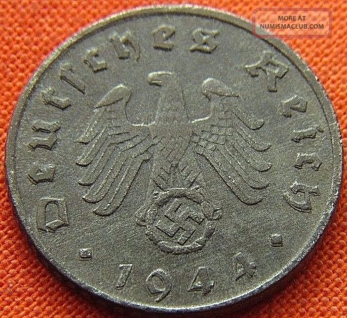 Ww2 German 1944 - D 5 Rp Reichspfennig 3rd Reich Zinc Nazi Coin (rl 1758) Germany photo