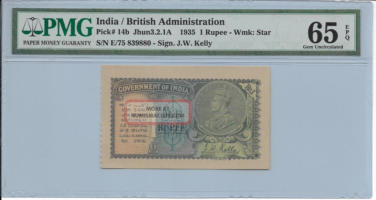 India / British Administration - 1 Rupee,  1935.  Pmg 65epq. Asia photo