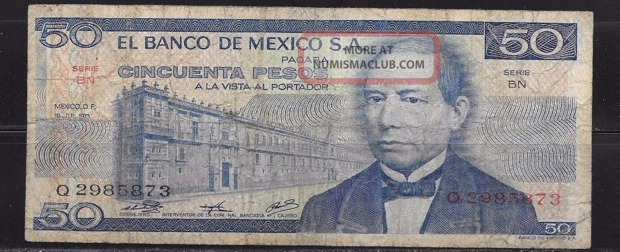 Mexico:50 Pesos Banknote C1973 Series Bn: 397 Paper Money: World photo