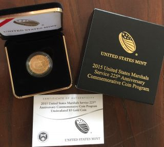 2015 W Gold Uncirculated U.  S Marshals Commemorative 1/4 Oz Gold $5 In photo