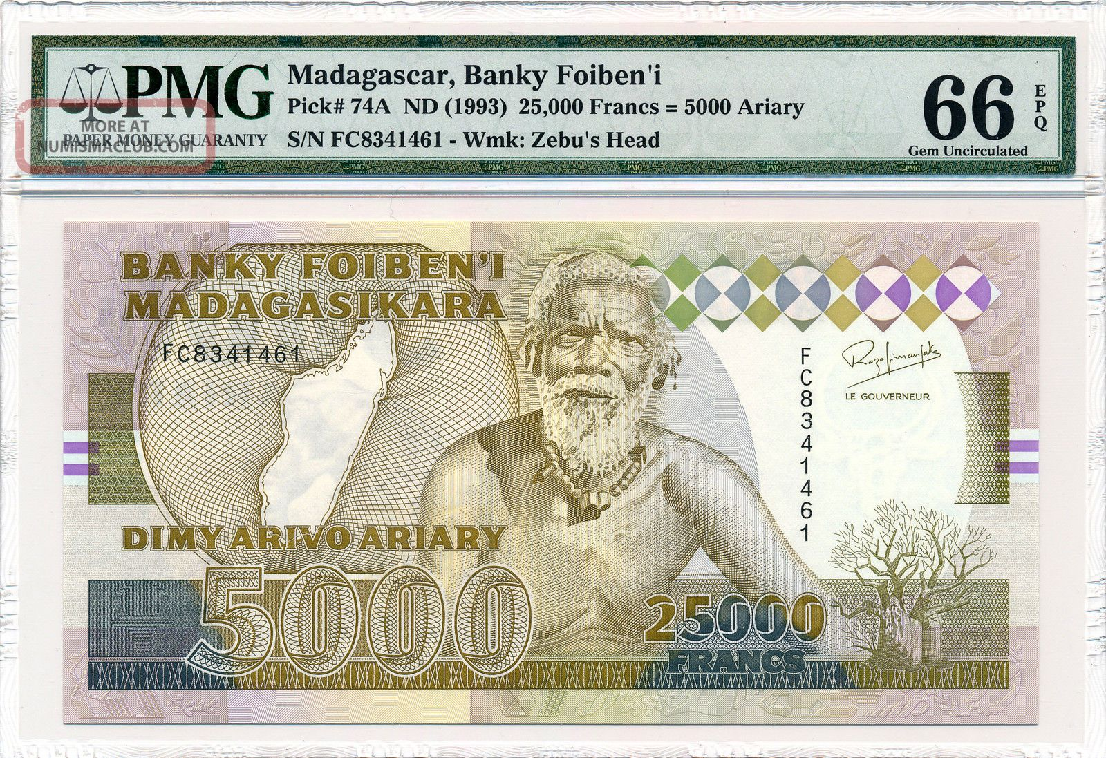Banky Foiben ' I Madagascar 25000 Francs Nd (1993) Pmg 66epq Africa photo