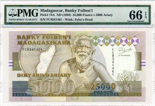 Banky Foiben ' I Madagascar 25000 Francs Nd (1993) Pmg 66epq photo