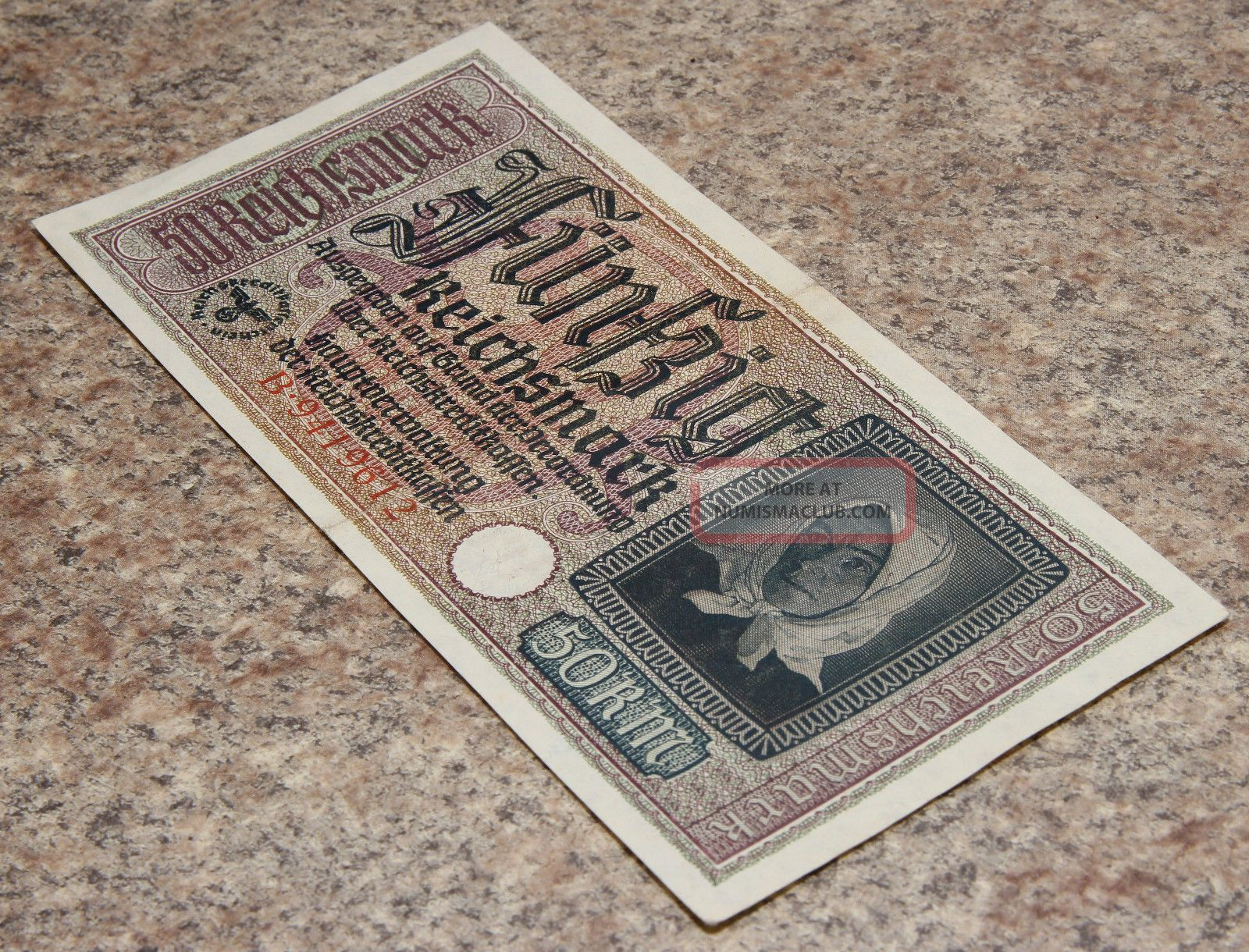 50 Reichsmark Wwii Nazi Germany Vintage Paper Money 1 Note Rare Europe photo