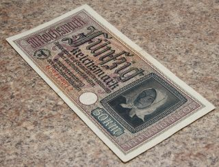 50 Reichsmark Wwii Nazi Germany Vintage Paper Money 1 Note Rare photo