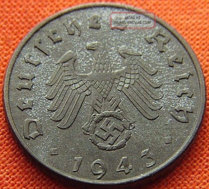 Ww2 German 1943 - A 5 Rp Reichspfennig 3rd Reich Zinc Nazi Coin (rl 1790) Germany photo