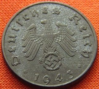 Ww2 German 1943 - A 5 Rp Reichspfennig 3rd Reich Zinc Nazi Coin (rl 1790) photo