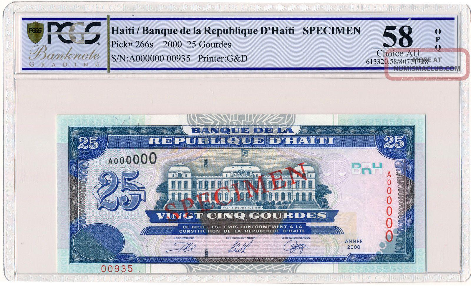 Banque De La Republique D ' Haiti Haiti 25 Gourdes 2000 Spec. ,  A000000 Pcgs 58opq North & Central America photo