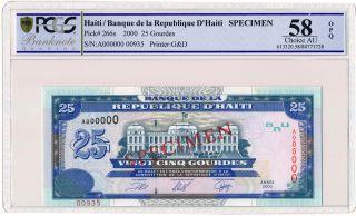 Banque De La Republique D ' Haiti Haiti 25 Gourdes 2000 Spec. ,  A000000 Pcgs 58opq photo
