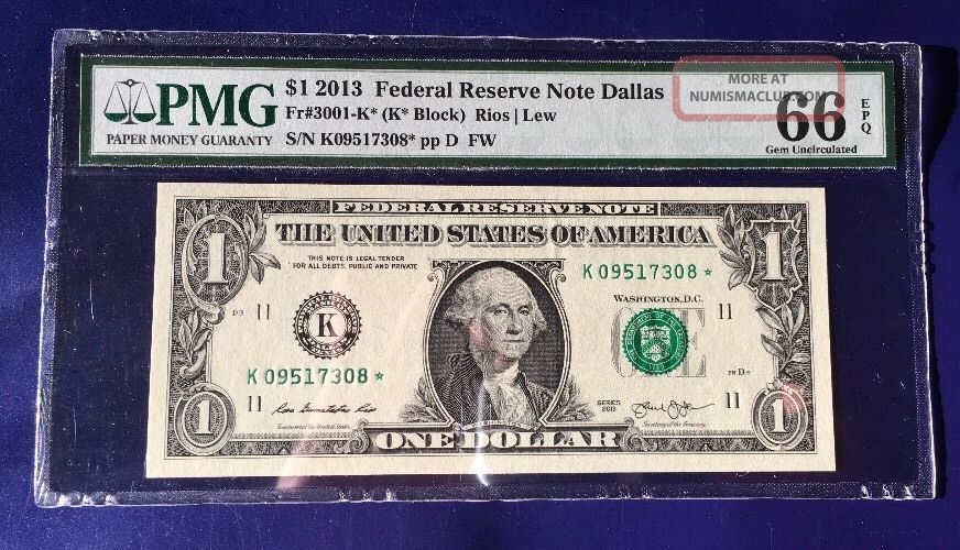 2013 $1 Federal Reserve Note Frn K - Star Cu Unc Pmg Gem 66 Epq Small Size Notes photo