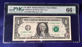2013 $1 Federal Reserve Note Frn K - Star Cu Unc Pmg Gem 66 Epq photo