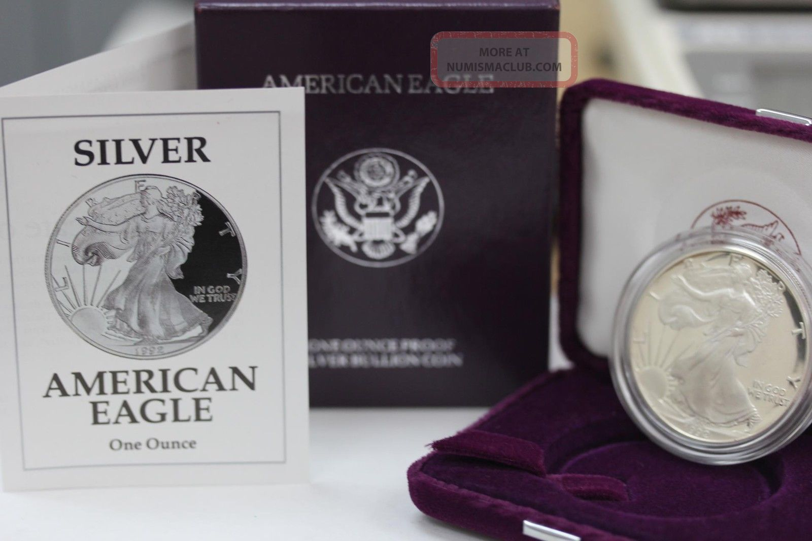 1992 S American Silver Eagle Proof Coin And Coins photo