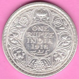 British India - 1918 - King George V - One Rupee - Rarest Silver Coin - 85 photo