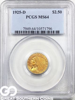 1925 - D Quarter Eagle,  $2.  5 Gold Indian Pcgs Ms 64 Very Sharp, photo