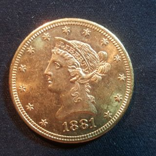 1881 S $10 Gold Liberty Head Dollar Very Rare photo