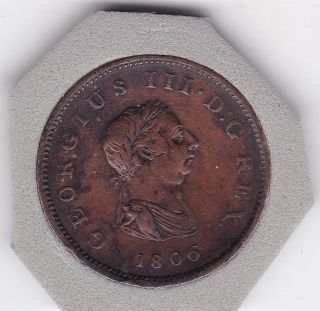 1806 King George Iii Half Penny (1/2d) Copper ' Soho ' Coin photo