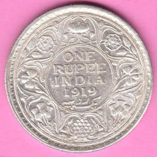 British India - 1919 - King George V - One Rupee - Rarest Silver Coin - 86 photo