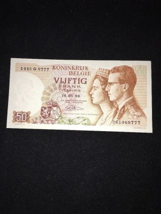 Kononkrijk Belgie $50 Banknote 1966 photo