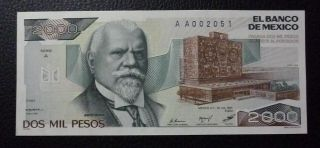 Mexico Banknote 2000 Pesos,  Pick 82a Unc 1983 - Low Serial Aa002051 photo