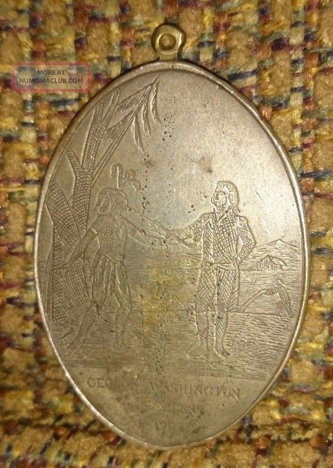 Indian Peace Medal - Coin Silver - Oval - 1792 - George Washington Exonumia photo