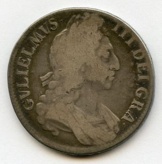 England 1696 King William Iii Crown Silver Coin Toned Fine. photo