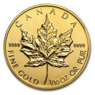 1/10 Oz Misc.  Gold (canada) Canadian Maple Leaf $5 Bu photo