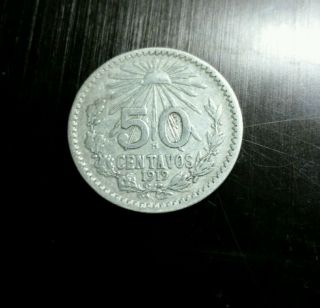 Mexico: 1919 - M Silver 50 Centavos,  Key - Low Mintage Year; Fine photo