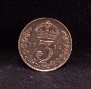 1912 Great Britain Silver 3 Pence,  Early King George V,  Decent Grade,  Km - 813 photo