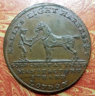 Great Britain Middlesex Kelly ' S Saddlery Half Penny Conder D&h 345 Au/uncirc photo