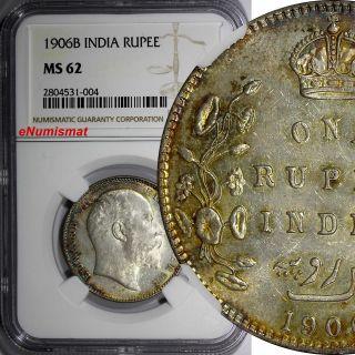 India - British Edward Vii Silver 1906 B Rupee Ngc Ms62 Gold Toned Km 508 photo