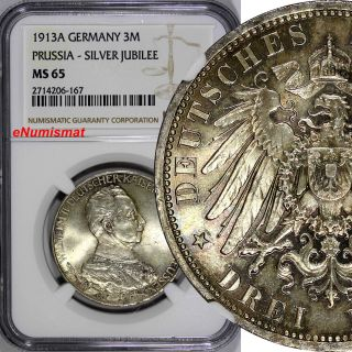 German States Prussia Wilhelm Ii Silver 1913a 3 Mark Ngc Ms65 Toned Km 535 photo