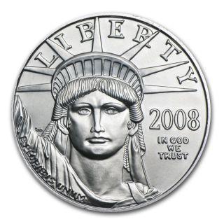 2008 1/10 Oz Platinum American Eagle Coin - Brilliant Uncirculated - Sku 31390 photo
