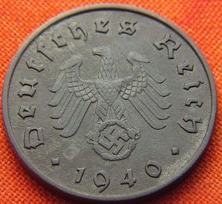Ww2 German 1940 - A 10 Rp Reichspfennig 3rd Reich Bronze Nazi Coin (rl 1637) photo
